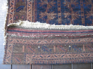 """Baluch Timuri prayer rug, ca 19th C. Almost square format. Contains that great blue for which this type is well known. Some overall wear with a 4"""" hole on the right border.  ..."""