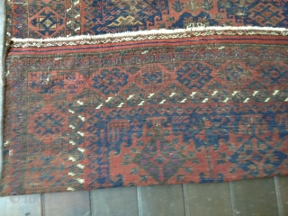"""19th C. Baluch Main Carpet, 79""""X48""""/201X122cm. All natural dyes. Dark palette. Thin, soft floppy handle. Very evenly worn but still makes a statement with a good variety of design symbols. Retains part  ..."""