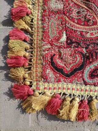 Kashmiri old textile  hand knotted.size 108×83 cm.Email for more info and pics and price.