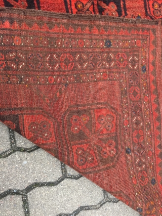 Antique Ersari rug, soft and glossy wool, very nice rust brown primary color. Size: 205x110cm / 6'8''ft x 3'7''ft