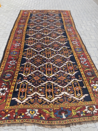 Antique Persian Bakhtiary tribal rug from the 19th century, wool foundation, beautiful natural colors. size: 405x190cm / 13'3''ft x 6'3''ft