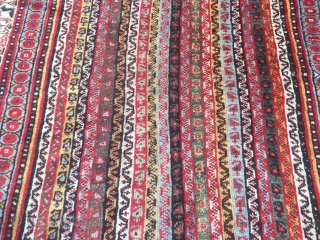 Antique Southpersian Luri tribal rug with beautiful colors, glossy wool and people in the border, size: ca. 260x165cm / 8'5''ft x 5'4''ft , age: 19th century