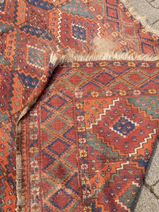 Rare and early Turkmen Ersari main-carpet with beautiful colors and a very nice and unique change of color palette. Size: 335x175cm / 11ft x 5'8''ft some condition problems but still a very  ...