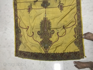 Antique Kerman embroidery with peacocks good condition.  It measures  5 feet's long 3 feet's wide.