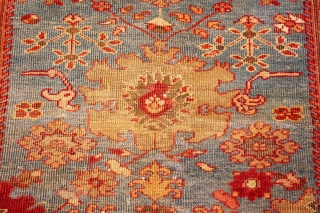 """BeautifulAntique Blue Background Persian Sultanabad Rug 49209, Size: 3'9"""" x 5'6"""", Country of Origin / Rug Type: Persian Rug, Circa Date: 1880 -A vibrant interplay between red and light blue spreads over  ..."""