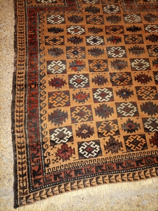 Antique baluchi prayer rug.camel wool.fabulous design.size 127×90 cm.Email for more info and pictures.