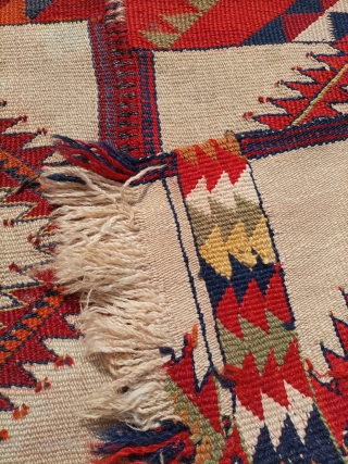 Afghani tribal kilim.unusual design with fabulous colours.size 135×92 cm.Email for more info and pics.