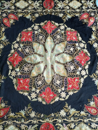 Colourful traditional silk embroidered velvet suzani.Email for more info and price.