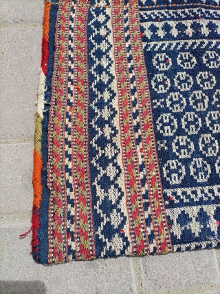 Old Qashqai flat woven khorjin.unusual design.Size 92×50 cm.No work done found as it is.Email for more info and pics.