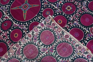 Old, antiuqe, Beautiful big size Uzbek, Samarkand suzani, the end of 19th century attractive colors, excellent condition, size 315x210cm