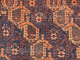 """Belouch Boteh rug. What a beauty. In pretty good shape with a couple of holes along the selvage and one 4"""" section of selvage and outer boarder missing and some oxidation in  ..."""