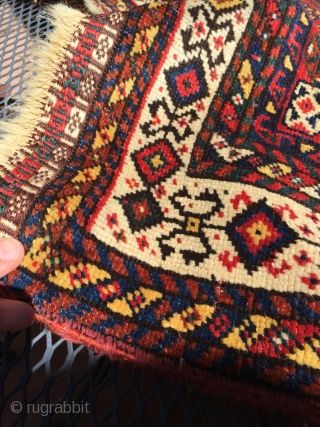 Shekarlu- Qashqai rug. ca 1870. 5.5' x 9' Clear, saturated color. Very solid, good condition with even low pile. No repairs, stains or damage. No foundation showing. Kilim ends still mostly all  ...