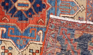 An atractive Karaja rug from North West Iran that combines undyed and dyed areas. Full pile and in good condition. 183x94 cms 1900s (A1712071),