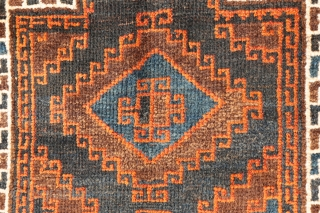 Baluch prayer rug from South West Afghanistan, with an unusually wide border. It is finished off with two large kilim skirt ends. All the dyes are natural, with a lovely blue colour,  ...