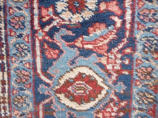 Persian Karaja rug, all good colours including nice light blue and green. Overall medium to low pile. In good sound condition but needs a wash and the side cords redone. 193x141cms  ...