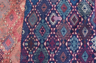 Finely Verneh weave Turkish flatweave size 450x190 beautifull colours ,needs stretching and one small hole (circa 1900)