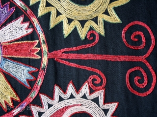 """Uzbek embroidery cod. 0566. Silk embroidery on silk. Central Asia. Late 19th./early 20th. century. Perfect condition. Cm. 52 x 52 (1'8"""" x 1'8""""). Sewn onto green silk and mounted on a wooden stretcher.  ..."""