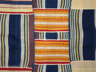 """Man' s ceremonial wrap """"Adanudo"""" cod. 0636. One of the items posted on my new website www.nonplusultra.cloud. Cotton. Ewe people. Kpandu area. Ghana. Circa 1940. Cm. 162 x 266 (5'4"""" x 8'9"""").  ..."""