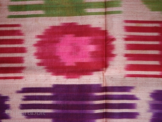 """Ikat fragment cod. 0179. One of the items added on my website www.nonplusultra.cloud.  Silk. Dimension cm. 44 x 38 717"""" x 15""""). Lined with a white cotton textile. Early 20th. century."""