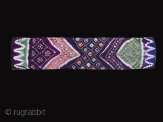 "Indonesian Pelangi Shoulder Cloth Textile ""selendang"" cod. 0767. Pelangi and tritik technique (tie dye) on Chinese silk, early 20th century. Palembang -Sumatra. Very good condition. Size cm. 178 x 41 (70"" x  ..."
