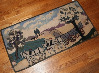 #1B183  Hand made antique American hooked rug 1.10' x 3.9' ( 61cm x 119cm )
