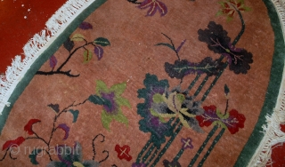 #1B548  Hand made antique oval Art Deco Chinese rug 3' x 4.10' ( 91cm x 150cm ) 1920