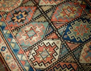 Handmade antique Caucasian Kazak Mohan rug 3.9' x 7.8' ( 119cm x 237cm ) 1880s - 1B493