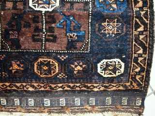 Handmade antique Afghan Baluch bagface 2.5' x 2.5' ( 76cm x 76cm ) 1900s - 1C396