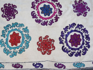 Silk emboidery on cotton from kyrgyzstan ayna alti, with small stain .50 x 47 cm
