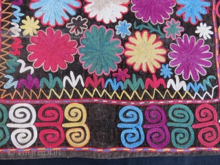 19 th century silk imbroidery on velvet ,from kyrgzstan in good condition  50 x 47 cm