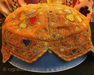 Antique silk embroidery hats,four pieces