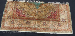 Antique pure silk rug fragment,the brown color has gold metallic embroidery.163 x 75 cm  www.eymen.com.tr