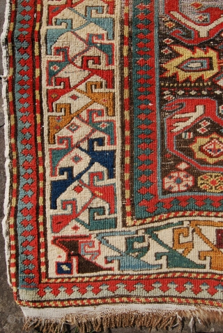 Antique shirvan/kuba prayer rug. Good age and unusual design. Heavy corrosion to the field reflected in the price.