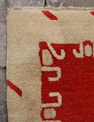 Charming antique tibetan dragon rug. Feels old and well made to me. Circa 1900-1925?. 183 x 124cm. Recently sourced from an English collection. Some minor losses one end other wise crisp condition.  ...