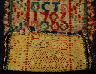 Early 18th century Trensaflossa carriage seat cover. Skane. Southern Sweden. Initialled CT and dated 1702. One of the earliest dated Skane folk textiles known to me. Complete. 103 x 50cm.
