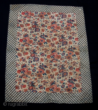 Beautiful silk embroidery. Chinese export work produced for the Indian or Persian market. 19th century. Note the blend of chinese and Indian/persian designs. Lined with fabulous [indian?] chintz. Good condition. Rare. 121  ...