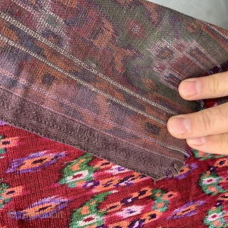 Persian silk velvet textile with a boteh design . Probably Yazd. Good condition with original selvedge. 67x73cm