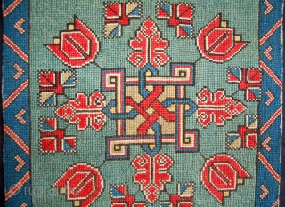 Super Swedish [south west Scania] agedyna or carriage cushion cover. So called twizt-stich technique or cross stitch. Circa 1800 or early 19th century. 110 x 50cm. Good condition with only very minor  ...