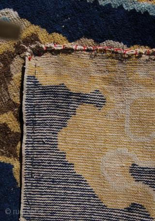 Superb Chinese dragon pillar rug fragment. 227x104cm.