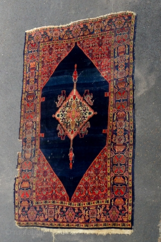 Good quality antique senneh carpet. Aprox. 8 x 5foot. Needs border repair but very beautiful. 19th century.