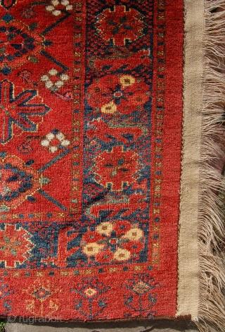 Ersari mina khani design chuval. 19th century. Superb colours and wool. 180 x 87cm. Edge losses and one border repair to the top.