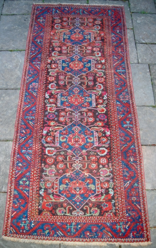 Kula long rug. Circa 1875. Some small areas of wear and corrosion but no repairs.313 x 136cm.