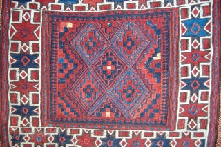 Complete Baluch or Aimac sumak saddle bags. Good colours and great condition. 19th.c. 110 x 53cm. Rare.