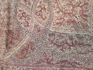 Very fine needle hand embroidered square shawl (rumal) from Kashmir India C.1900 done on pashmina base material there is no damages in this square shawl (rumal).the size of this rumal is 182  ...