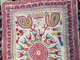 Vintage fine Kantha from West Bengal India C.1900 with a rare subject of Krishna Raas Leela where Krishna is dancing with gopis.it is rare to find these type of subject related Kantha  ...