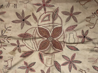Vintage Kantha quilt from Murshidabad district of West Bengal  India 1900C. It is huge in size with mango design fish design and there is an individual human portrait in the borders  ...