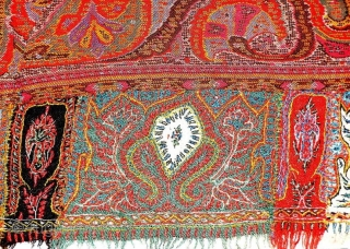 Kashmir square rumal in perfect condition India 1900 C. with good colours the size of this rumal is 172 cms X 170 cms.