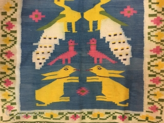 Vintage bridal dowry durrie from east Punjab india hand woven with fine weaving work the size of this durrie is 278 CM X 136 CM