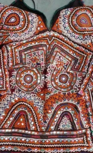 Kutchi hand embroidered blouse top with Dheberia Rabari embroidery work with the finest needle work example  from Kutch region Gujrat India.