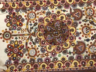 Kutchi dharinya wall hanging from the Rabari tribe of Kutch Gujrat India completely Hand embroidered the size of the hanging is 168  X 108 cms.